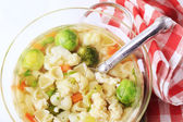 Chicken stock with vegetables and pasta — Foto de Stock