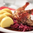 Roast duck, red cabbage and potato dumplings - ストック写真