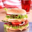 Double decker hamburger — Stock Photo