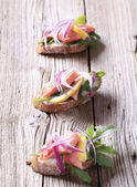 Salmon open faced sandwiches — Stock Photo