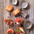 Appetizers and small tartlet tins — Stock Photo #4381113
