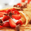 Stock Photo: Crepes with cheese and strawberries