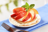 Pancakes with cheese and fruit — Stock Photo