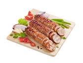 Roast pork and turkey rolls — Stock Photo