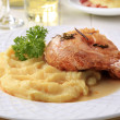 Stock Photo: Roasted chicken and mashed potato