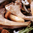 Stock Photo: Roast lamb chops and mushrooms