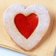 Stock Photo: Heart shaped shortbread cookie