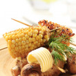 Roasted sweet corn and mushrooms — Stock Photo