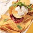 Corn chips and curd cheese — Stock Photo