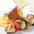 Stock Photo: Chicken shish kebab