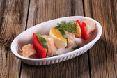 Raw chicken shish kebab — Stock Photo