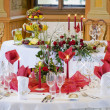 Tables ready for a wedding reception — Stockfoto