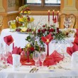 Tables ready for a wedding reception — Stock Photo