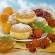 Stock Photo: Donuts with jam filling