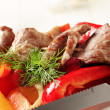 Roasted meat on skewer and baked vegetable — Stock Photo