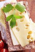 Queso y pan crujiente — Foto de Stock