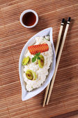 Rice and soy sauce — Stock Photo