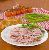 Thinly sliced ham — Stock Photo