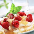 Pancakes with quark and raspberries — Stock Photo