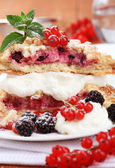 Berry fruit cake with cream cheese — Stock Photo