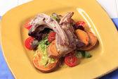 Roast lamb chops and potatoes — Stock Photo