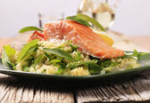 Salmon and couscous — Stock Photo