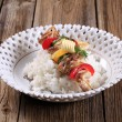 Chicken kebab and rice - Stock Photo