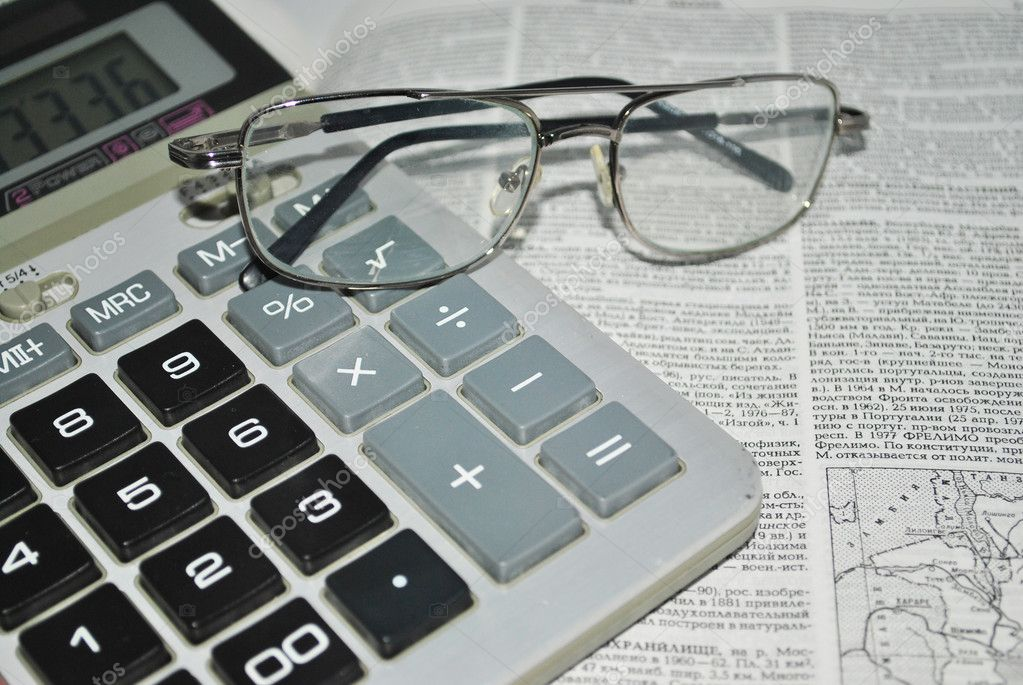 Glasses, calculator, directory, business, search, information, computation, summarize, analyze, review, documentation, economics, analyst — Stock Photo #4355745