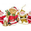 Santa Claus, teddy bear, bell — Stock Photo