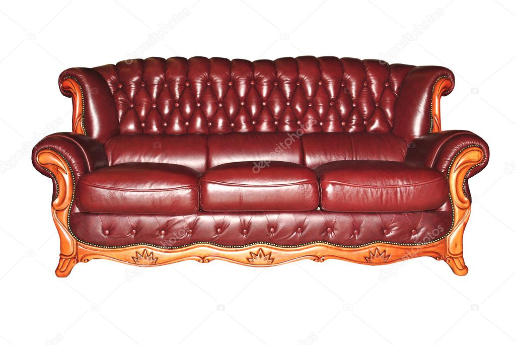 Burgundy leather sofa isolated on a white background | Stock Photo ...