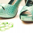 Bright beautiful green sandals, shoes — Foto Stock