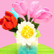 A bouquet of colorful paper flowers — Stock Photo