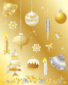Christmas design elements set in gold and silver — Stock Vector