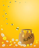 Honey jar with bees — Stock Vector