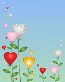 Love heart flowers — Stock Vector