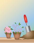 Blumentopf und kelle — Stockvektor