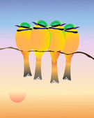 Little green bee eaters — Stock Vector