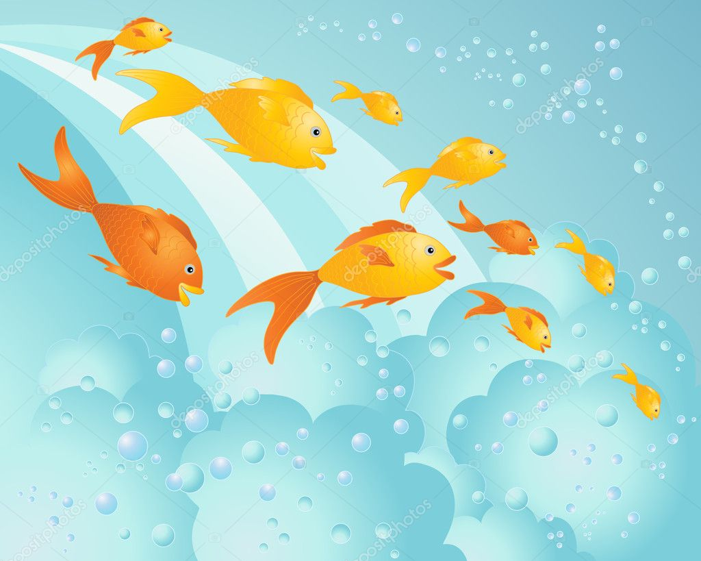 An illustration of happy fish in gold and red swimming down a waterfall with blue bubbles — Stock Vector #5014091
