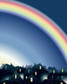 Rainbow over rooftops — Stock Vector