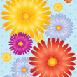 Vettoriale Stock : Flowers with dotty background