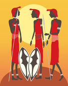 Three masai men — Stock Vector