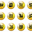 Stock Photo: Buttons Astrology Chinese Zodiac - Whole Set