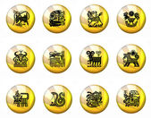 Buttons Astrology Chinese Zodiac - Whole Set — Stock Photo