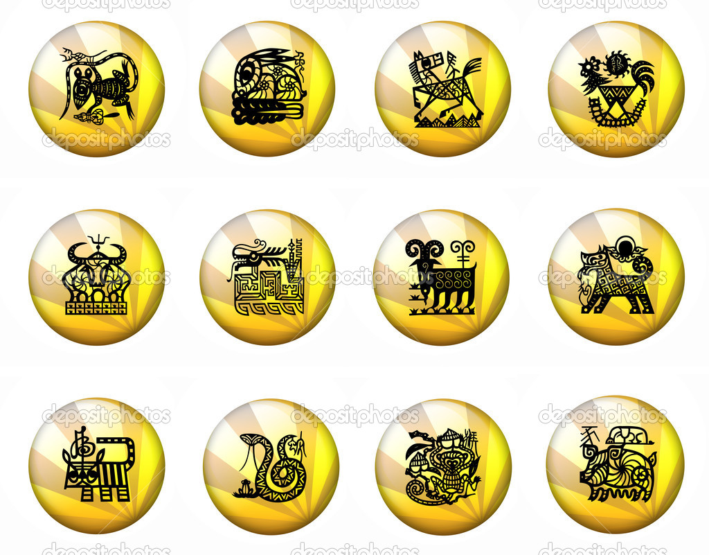 Yellow Buttons Astrology Chinese Zodiac - Whole Set — Stock Photo #3976351