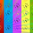 Handprints on a colored background — Stock Photo