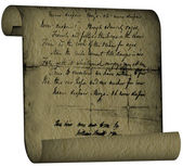 Textural old letter roll — Stock Photo
