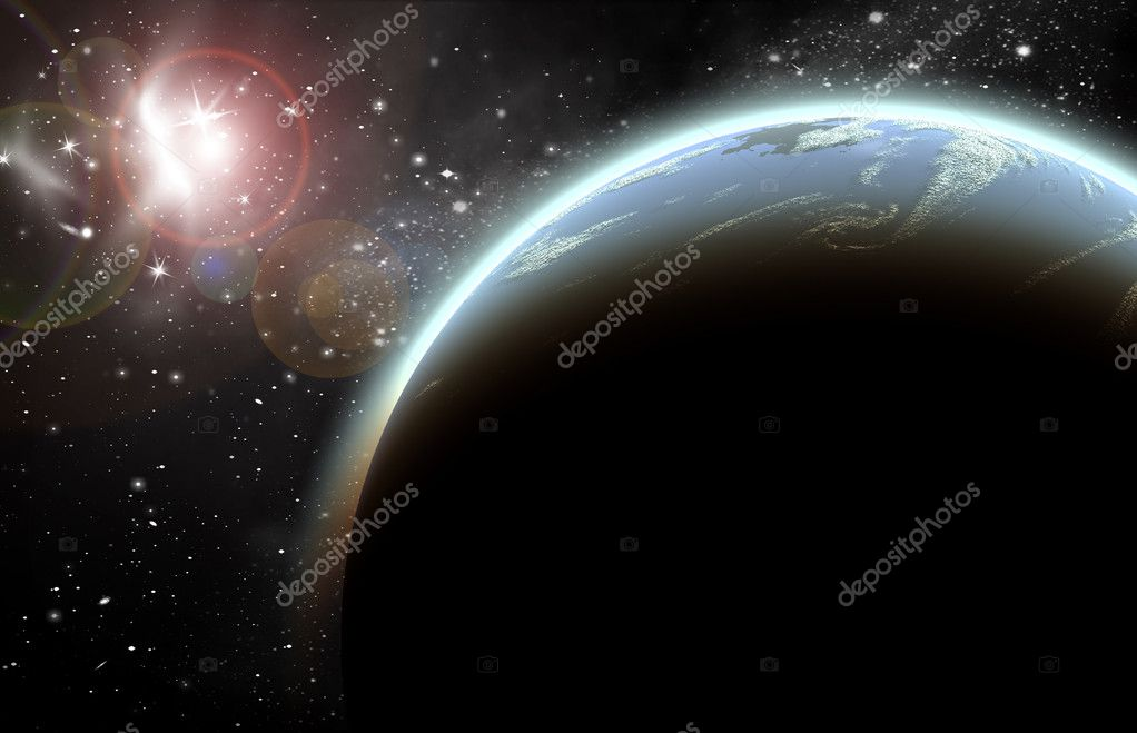 Planet in space in the star sky of flash, light — Stock Photo #4094378