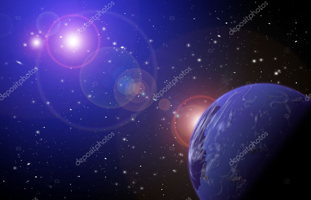Planet in space in the star sky of flash, light — Stock Photo #4094405