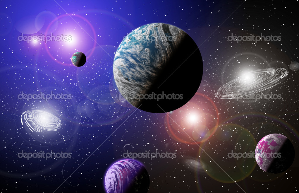 Planet in space in the star sky of flash, light  Stockfoto #4279842