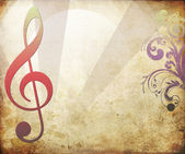 Musical key background in retro — Photo